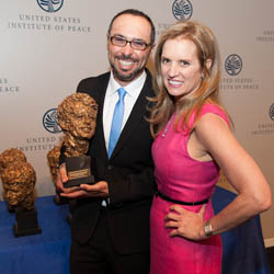 Filmmaker Yoav Potash with Kerry Kennedy, human rights leader and daughter of Robert F. Kennedy=